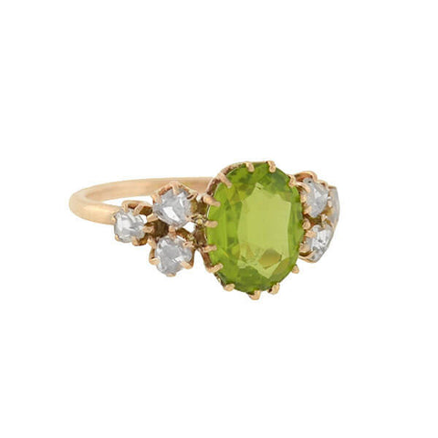 Victorian 14kt Peridot Rose Cut Diamond Cluster Ring