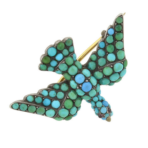 Victorian Silver-Topped 15kt Pavé Persian Turquoise Bird Pin