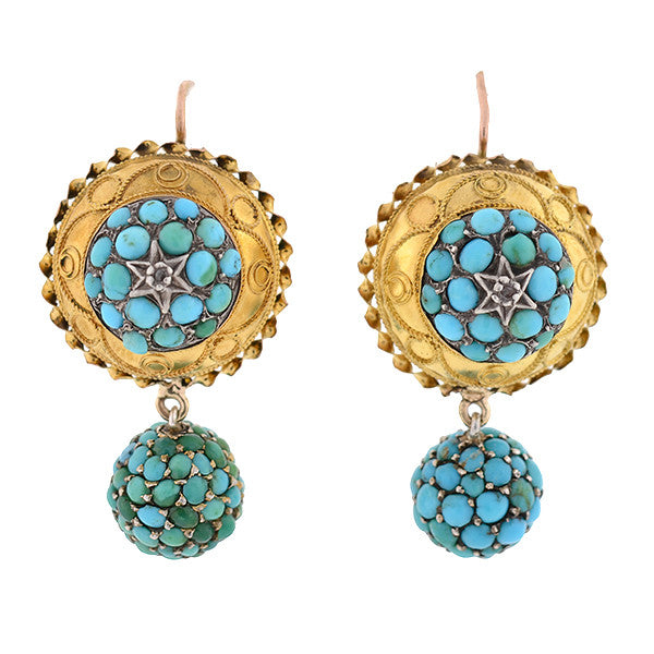 Victorian 15kt Persian Turquoise & Diamond Earrings