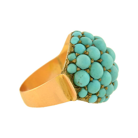 Victorian 14kt Pavé Persian Turquoise Domed Ring