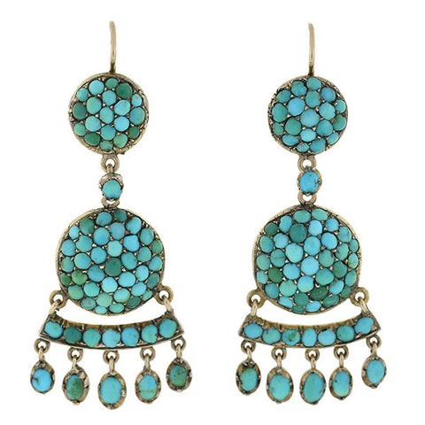 Victorian 12kt Persian Turquoise Hanging Earrings