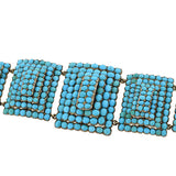 Victorian 15kt Pavé Persian Turquoise Pyramidal Link Bracelet