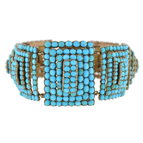 Victorian 9kt Pavé Persian Turquoise Pyramidal Link Bracelet