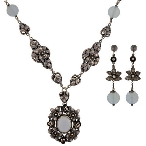 PERUZZI Retro Sterling & Chalcedony Flower Necklace & Earring Set