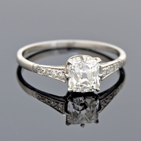 Edwardian Platinum + Rare Peruzzi Cut Diamond Engagement Ring 0.86ct