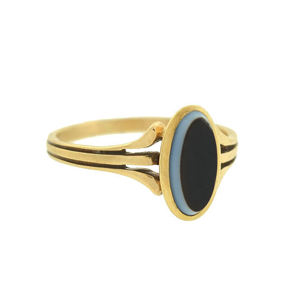 Victorian Petite 14kt Banded Agate Ring