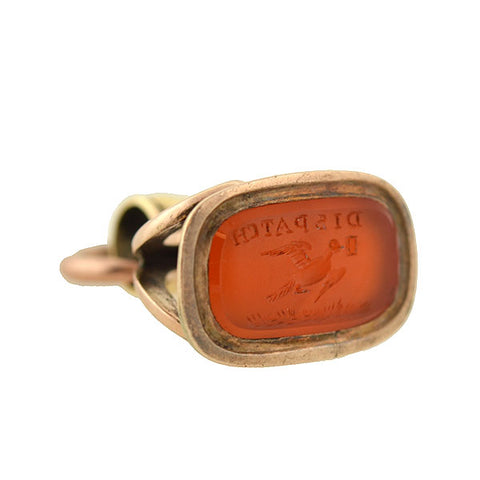"Early Victorian Petite 9kt Carnelian Intaglio Bird ""Dispatch"" Fob"