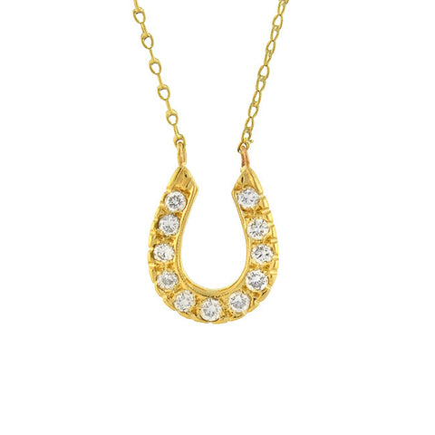 Late Art Deco 14kt Petite Diamond Horseshoe Necklace 0.40ctw