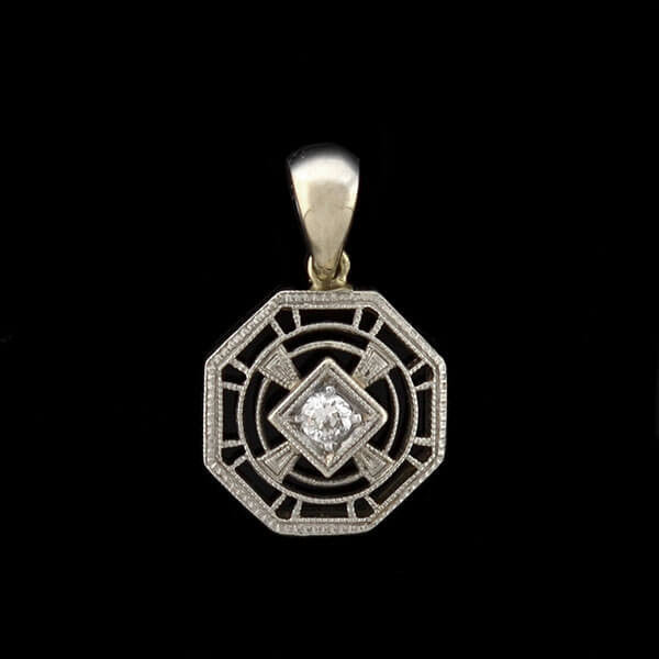 Edwardian Petite 14kt Diamond Filigree Charm