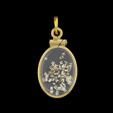 "Vintage 14kt Petite ""Gold Dust"" Locket Charm Pendant"