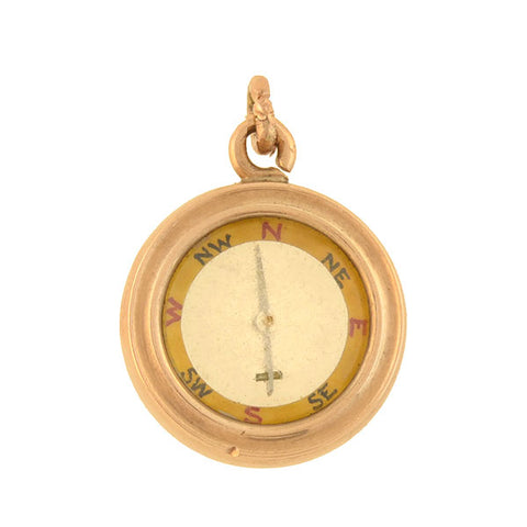 Victorian Petite 14kt Double-Sided Compass Pendant