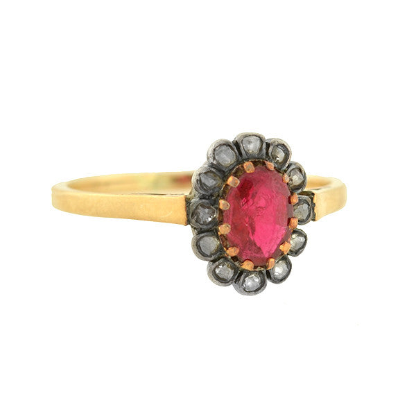 Victorian Petite 14kt Ruby & Rose Cut Diamond Ring