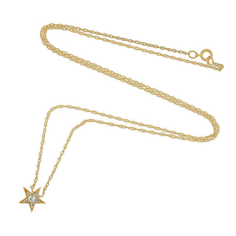 Victorian Petite 14kt Diamond Star Charm Necklace
