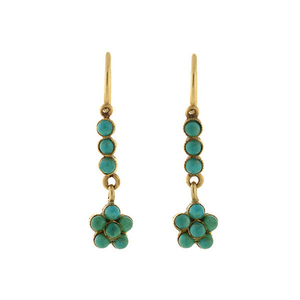 Late Art Deco 14kt Dangling Turquoise Cluster Earrings