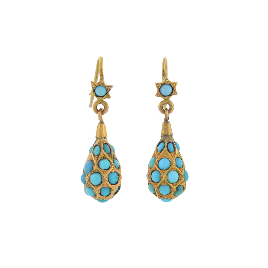 Victorian 15kt Persian Turquoise Teardrop Earrings