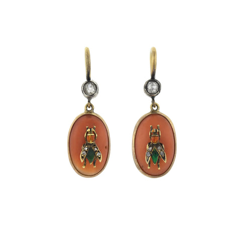 Victorian 15kt Coral, Diamond + Enameled Fly Earrings