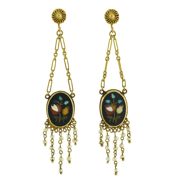 Victorian Dramatic 14kt Seed Pearl Pietra Dura Flower Earrings