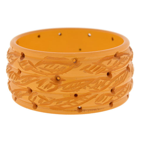 Retro Heavy Carved Bakelite Wide Bangle Bracelet