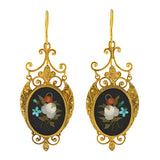Victorian 18kt Gold Etruscan Pietra Dura Earrings