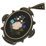Victorian Sterling/14kt Pietra Dura Earrings & Locket/Pendant Set