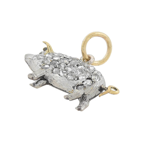 Edwardian 15kt/Platinum Petite Old Rose Cut Diamond Pig Charm Pendant
