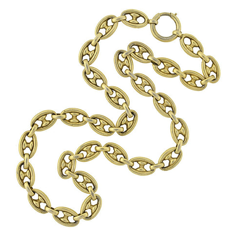 Victorian Silver Gilt Anchor Link Chain Necklace 18""