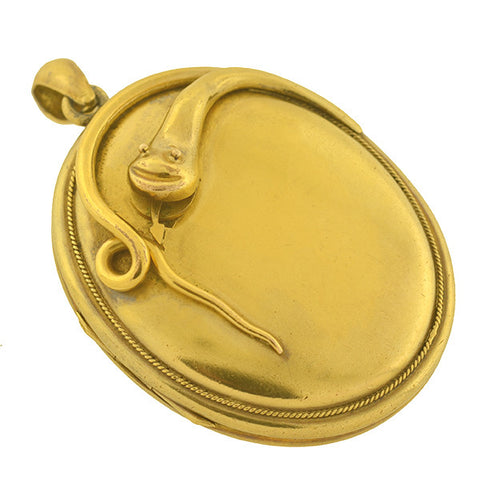 Victorian Huge Pinchbeck Snake Locket