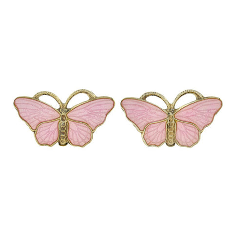 OPRO Vintage Norwegian Sterling Enameled Butterfly Clip Earrings