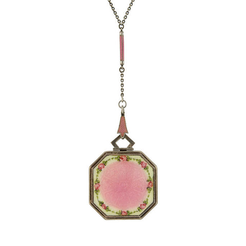 Art Deco Sterling Pink Floral Guilloché Locket Necklace