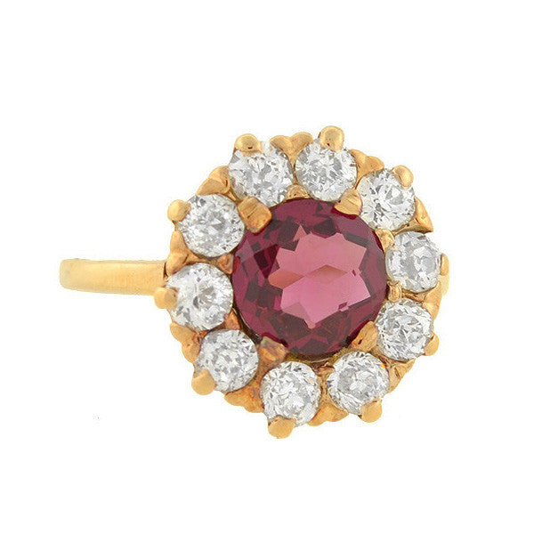 Victorian 14kt Pink Sapphire & Diamond Cluster Ring