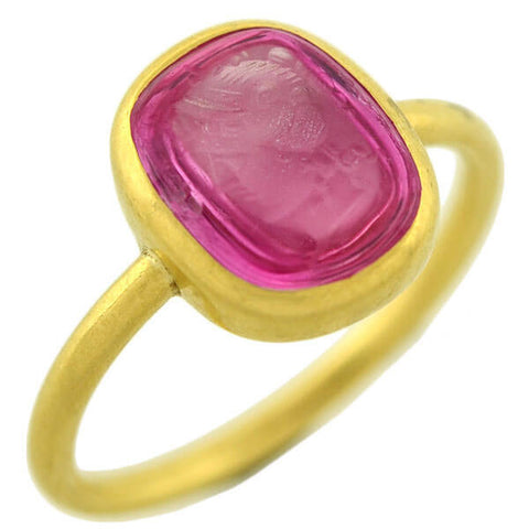 Victorian 18kt Pink Sapphire Doublet Intaglio Ring