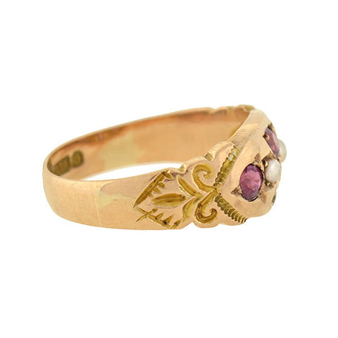 Victorian English 9kt Pink Sapphire & Pearl Ring