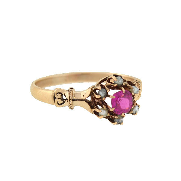 Victorian 12kt Pink Sapphire & Seed Pearl Cluster Ring