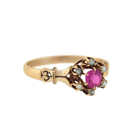 Victorian 14kt Gold & Large Faceted Amethyst Ring
