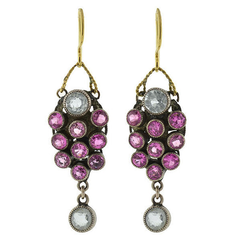 Arts & Crafts Sterling Pink Sapphire & Zircon Earrings
