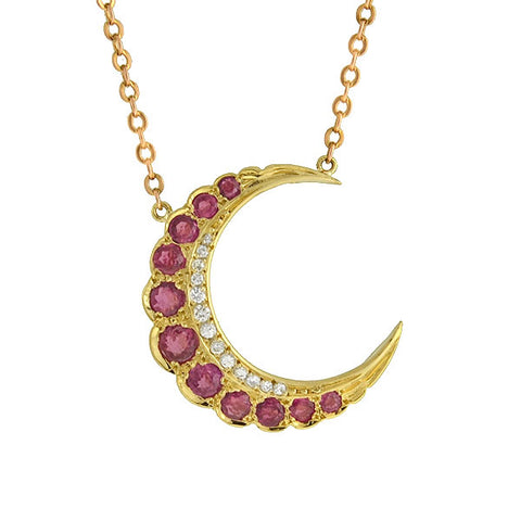 Late Victorian 10kt Pink Spinel & Diamond Crescent Necklace
