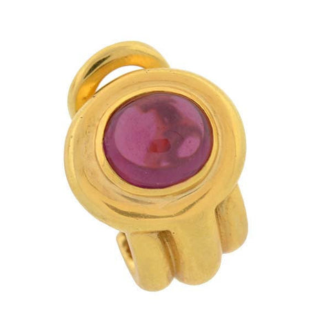 Estate 18kt Gold & Pink Tourmaline Clip Earrings