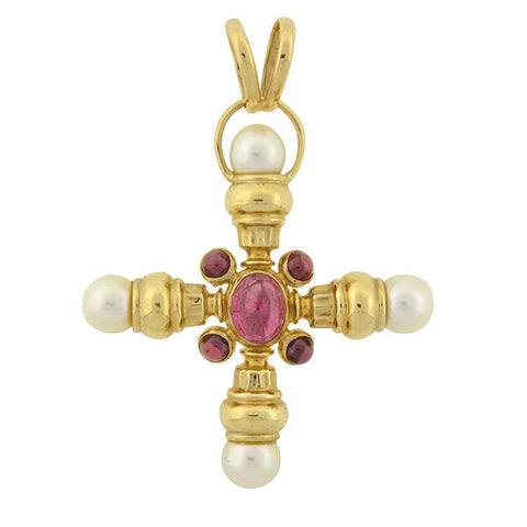 Estate 14kt Pink Tourmaline Garnet & Pearl Maltese Cross Pendant
