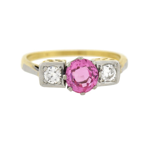 Late Art Deco 14kt/Platinum Natural Burmese Pink Sapphire + Diamond Ring