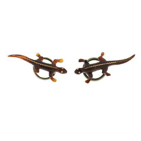 Victorian Piqué Tortoise Shell Salamander Earrings