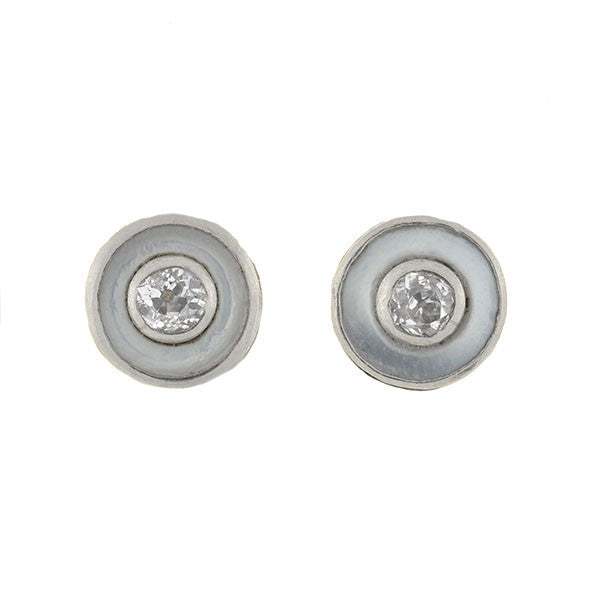 Late Victorian Platinum & 14kt Diamond & Mother of Pearl Studs