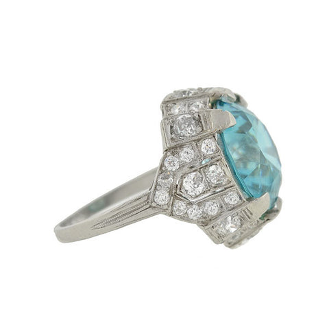 Edwardian Platinum Diamond & Zircon Ring 15ct. center