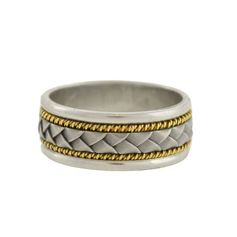 "Estate Platinum/18kt ""Braided"" Mixed Metals Band"