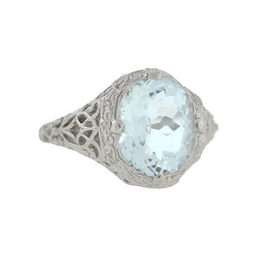 Art Deco Platinum Aquamarine Filigree Ring 3.00ctw