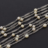 Edwardian Platinum Natural Pearl Chain 60