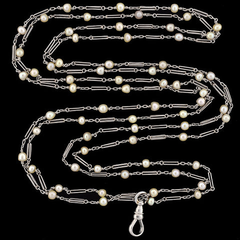 Edwardian Platinum Natural Pearl Chain 60""