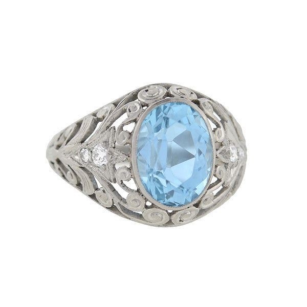 Art Nouveau Platinum Diamond & Aquamarine Filigree Ring