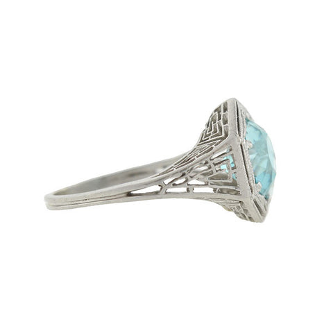Art Deco Platinum & Natural Blue Zircon Filigree Ring 2.69ct.
