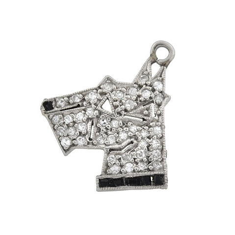 Art Deco Platinum Diamond & Onyx Dog Charm