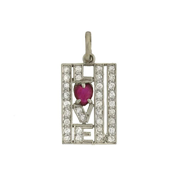 "Art Deco Platinum Ruby & Diamond ""I LOVE U"" Charm"